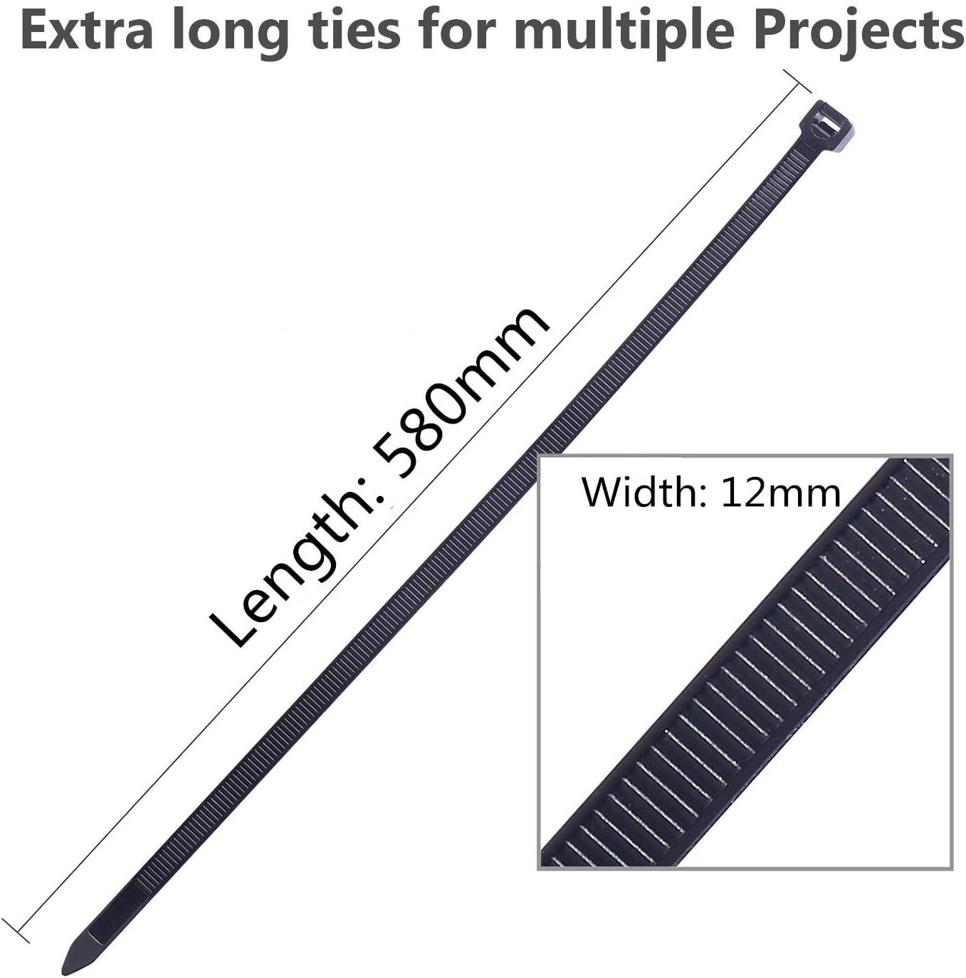 ultra r/ésistants Lot de 30 colliers de serrage r/ésistants pour c/âble 580 mm x 12 mm Noir 80 kg de qualit/é industrielle grande r/ésistance /à la traction