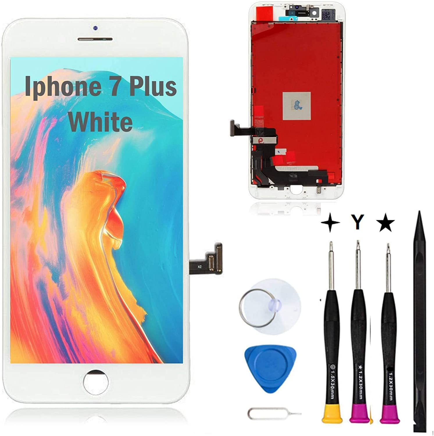 Oli & Ode for iPhone 7 Plus Screen Replacement White iPhone 7 Plus LCD Screen Replacement Kit iPhone 7 Plus digitizer LCD Assembly with 3D Touch + Full Free Repair Tools Model A1784, A1785, A1661