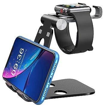 Soporte Tablet, Multiángulo Soporte iPad / móvil para cargar iWatch, iPad, con soporte de aluminio universal 3 en 1 para iPhone XS Max / XR / 8 Plus, ...