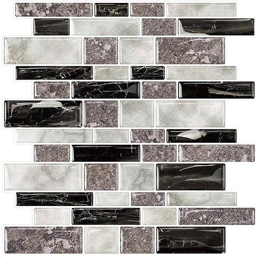 Peel and Stick Tile Mosaic Wall StickBlack-Stone Design
