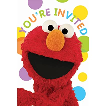 amazon com sesame street set of 8 party invitation and thank you