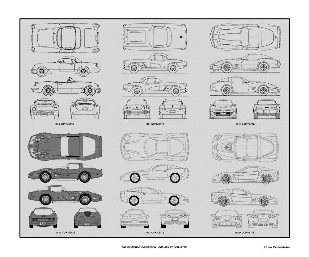 Amazon chevrolet corvette blueprint collection print car art amazon chevrolet corvette blueprint collection print car art gift 20x24 posters prints malvernweather Image collections