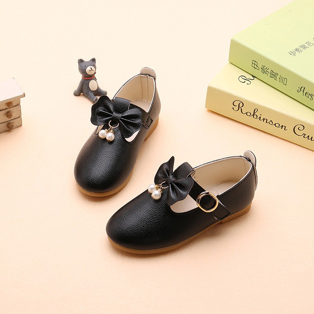 HOSOME Girls Shoes Solid Leather Bowknot Pearl Princess Single Casual Shoes HOSOME Baby shoes