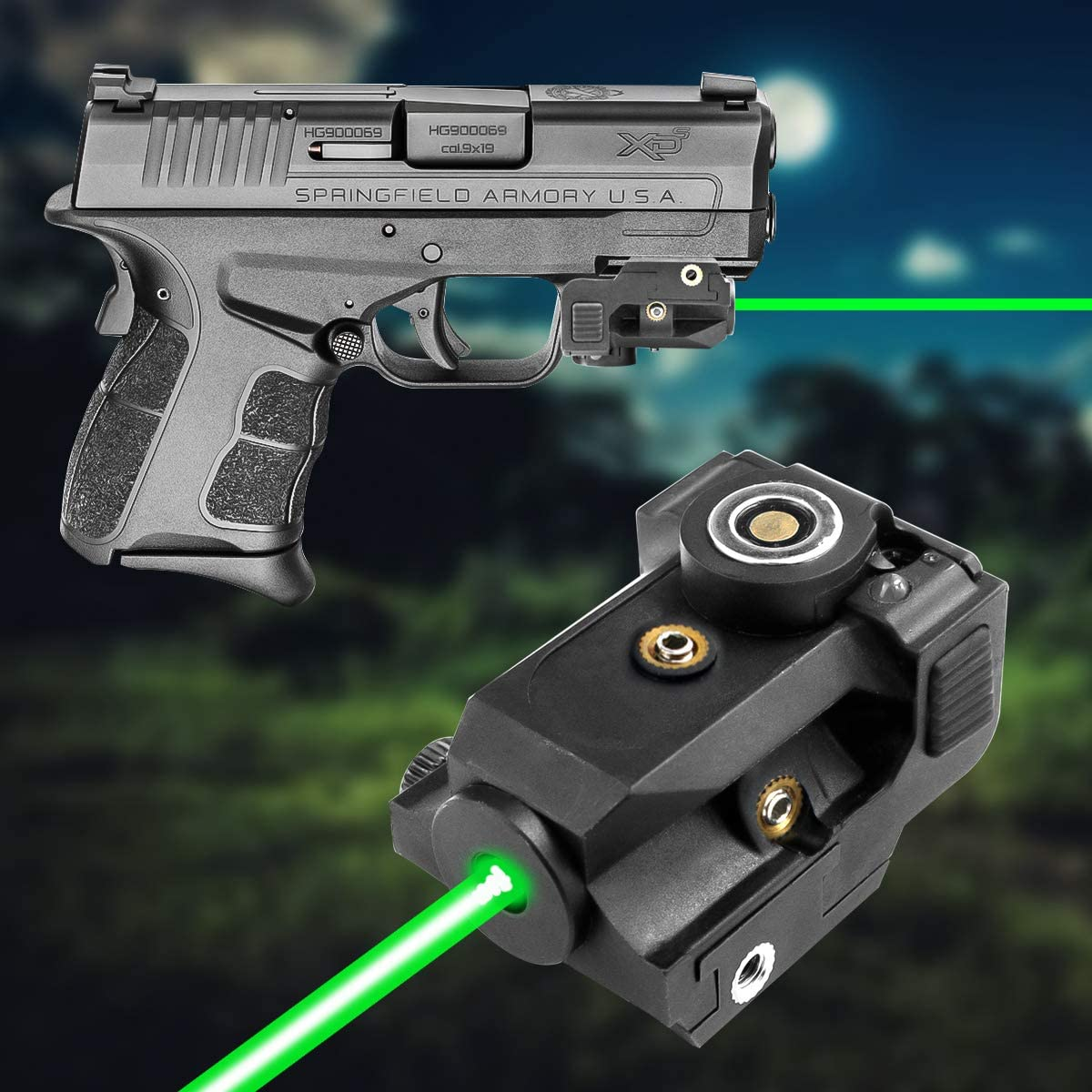 Lasercross LS01G Magnetic Touch Charging Green Laser Sight,Ultra Compact Tactical Pistol Laser,Shockproof Green Dot Sight Used for Pistols and Rifles That Built with 21mm Standard Picatinny Rails