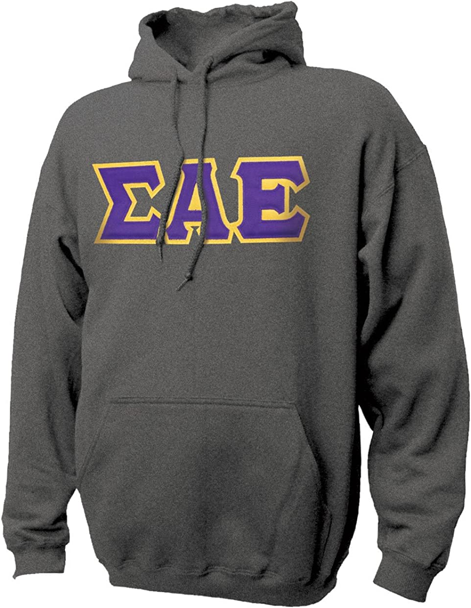 SAE Dark Heather Hoodie with Sewn On Letters