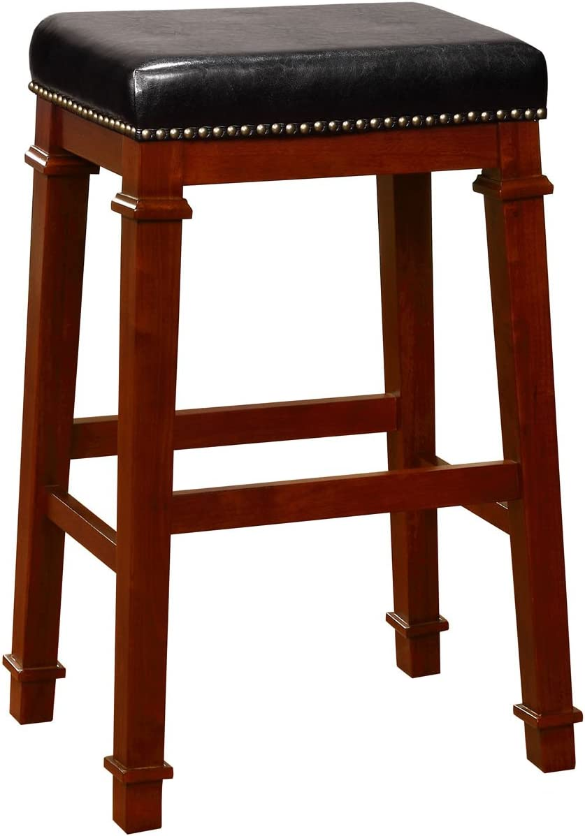 Linon Kennedy Backless PU bar Stool, Dark Cherry