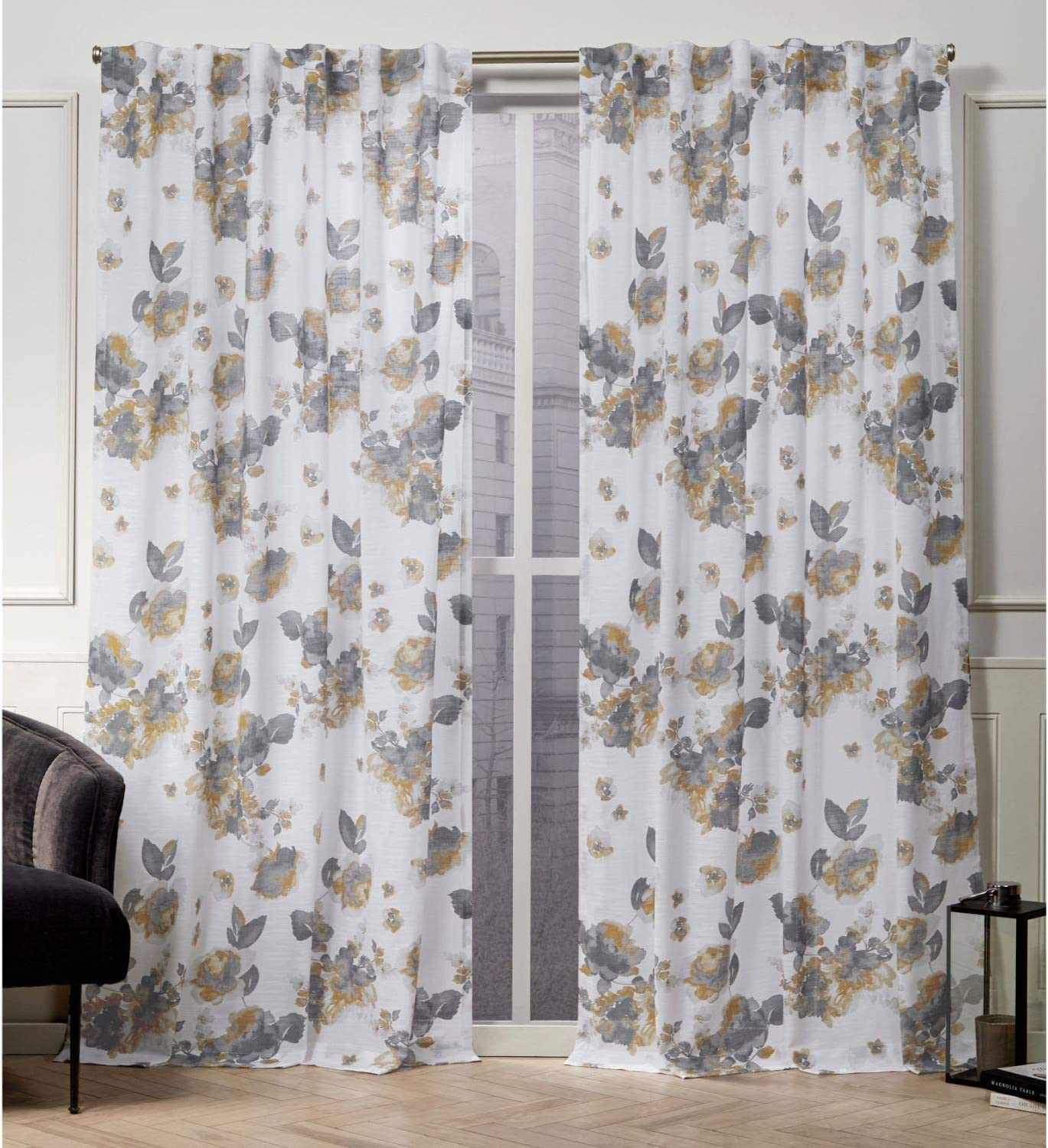 Nicole Miller Kristy Hidden Tab Top Curtain Panel, Honey Gold, 50x96, 2 Piece