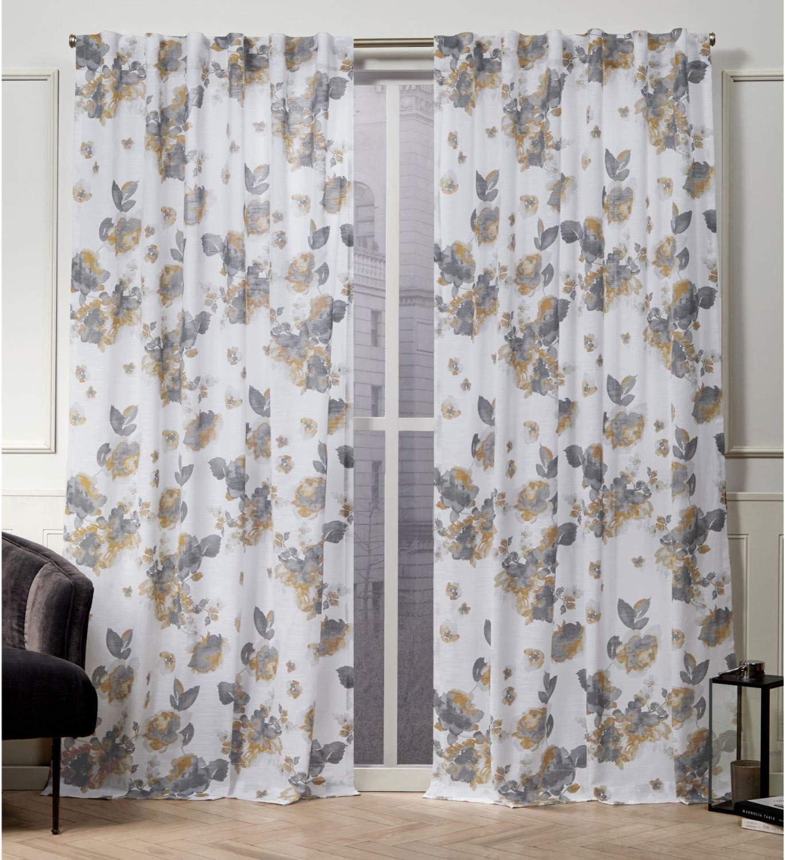 Nicole Miller Kristy Hidden Tab Top Curtain Panel, Honey Gold, 50x84, 2 Piece