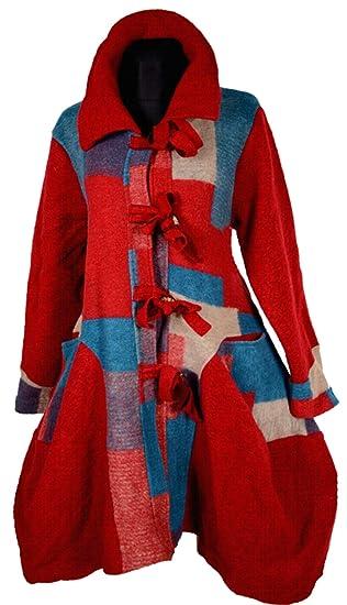 Lagenlook Winter Swinger Mantel Übergang Wolle Damen Trench W9EDH2I