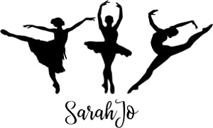 Three Ballet Dancers with Personalized Vinyl Decal for Girls Room - Customized Color, Size, and Name Wall Sticker for Bedroom or Dance Studio | Small, Large Sizes | CustomVinylDecor