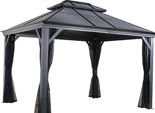 Sojag 12 x 14 Mykonos Double Roof Hardtop Gazebo Outdoor Sun Shelter