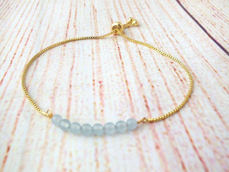 Dainty Gemstone Bracelet Bolo Adjustable Bracelet for Women Aquamarine Sliding Bracelet