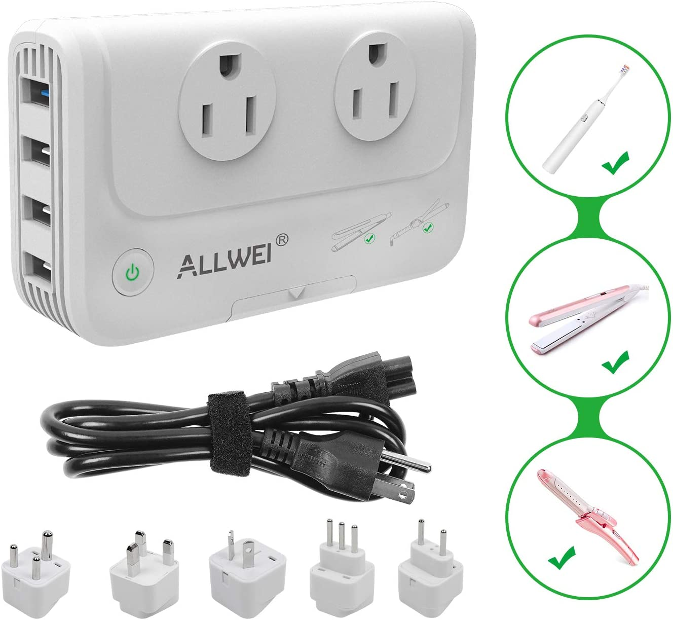 International Travel Adapter 220V to 110V Step Down Power Voltage Converter for Hair Straightener/Curling Iron, Universal Power Plug Adapter UK, US, AU, EU, IT, India …