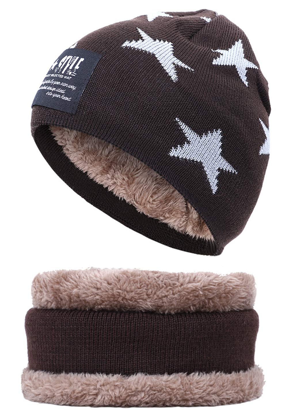 iKulilky Unisex Scarf Gray Knitted Hat,Boys and Girls Beanie Hat Bobble Hat Baby Cap Neck Warmer Kids Scarves Loop Scarves Neck Warmer for Autumn Winter Motorcycle