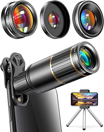Amazon Com Copedvic Phone Camera Lens Phone Lens For Iphone Samsung Pixel One Plus Huawei 22x Telephoto Lens 4k Hd 0 67x Super Wide Angle Lens 25x Macro Lens Screwed Together 205 Fisheye Lens Metal Tripod