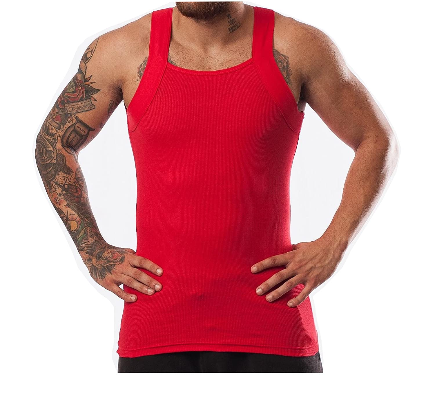 77bf7540e6018c Different Touch Men s G-unit Style Tank Tops Square Cut Muscle Rib A-Shirts
