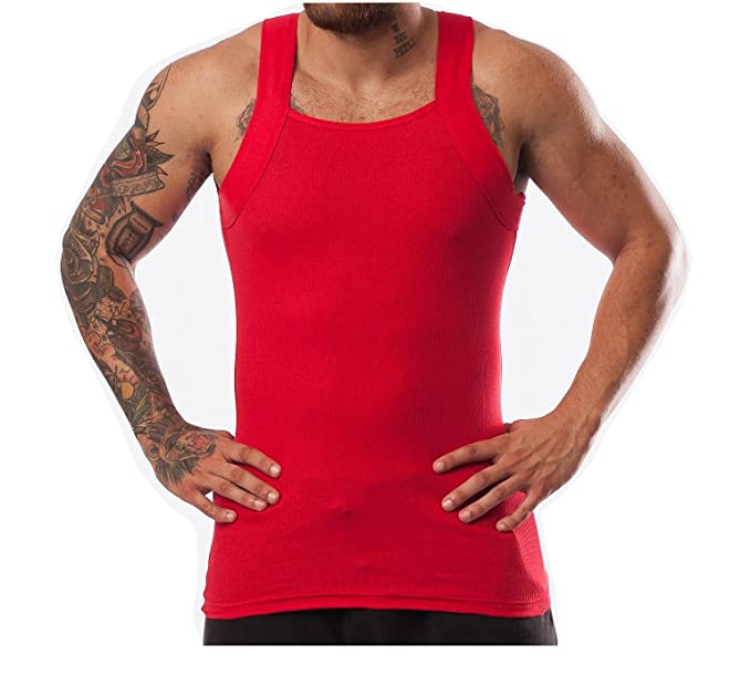 2fb7c5e0e40734 Image Unavailable. Image not available for. Colour  Different Touch 2 Pack Men s  G-Unit Style Tank Tops Square Cut Muscle Rib A