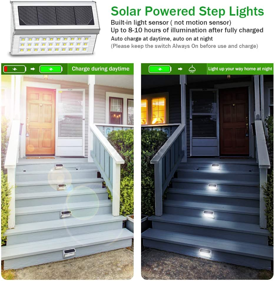 OSORD Solar Lights Outdoor Upgraded Pack of 8 Waterproof 6 LED Solar Deck Step Lights Wall Mount Decorative Decks Lighting Dark Sensing Auto On//Off for Steps Yard Porch Stairs Fence Pathway