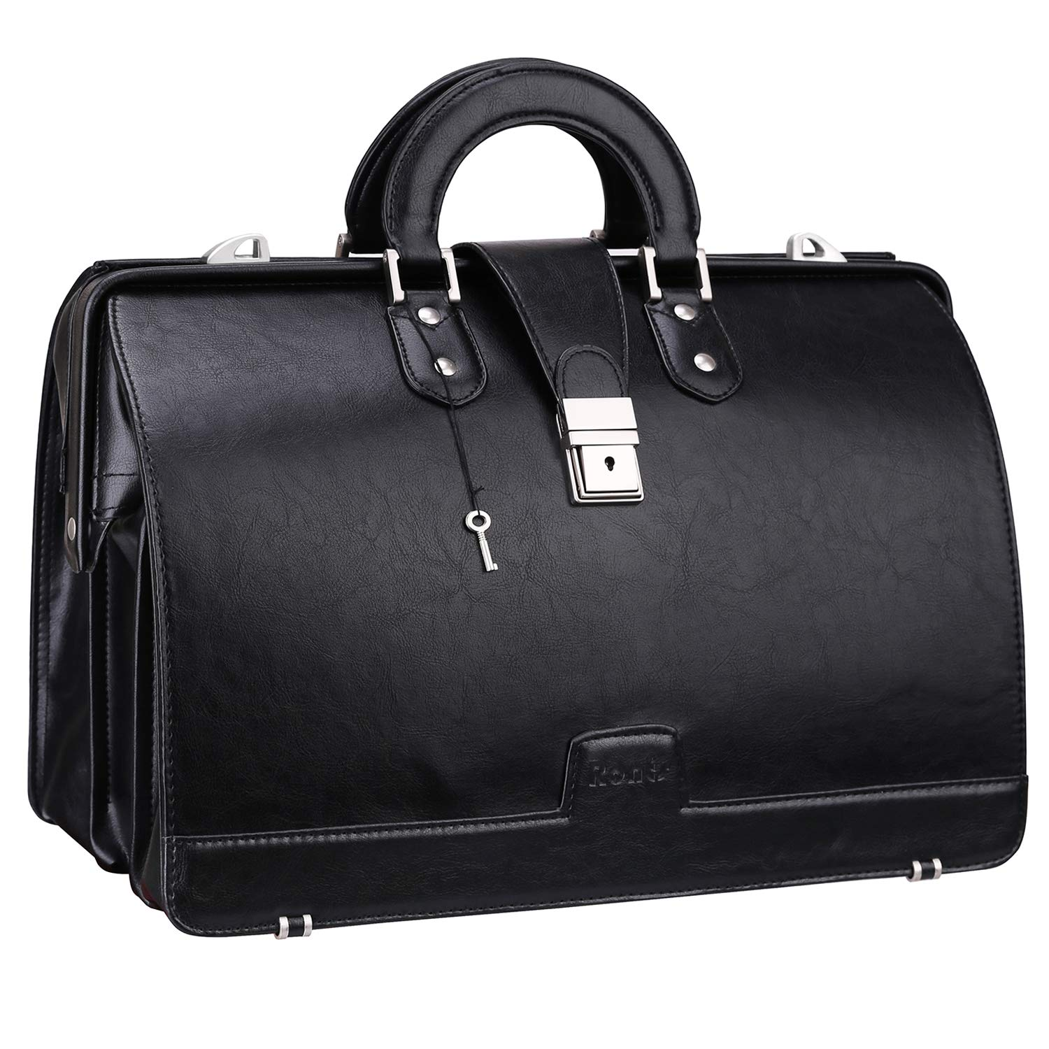 Ronts Lawyer's PU Leather Briefcase 15.6 Inch Laptop Bag Shoulder Bag Attach Case for Men Women, Black