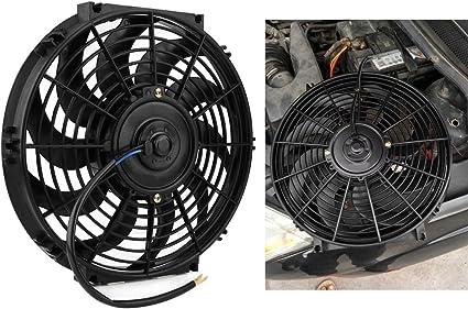 Ventilador de motor eléctrico universal, 12 pulgadas, motor eléctrico de 12 V, 80 W, con kit de montaje: Amazon.es: Coche y moto