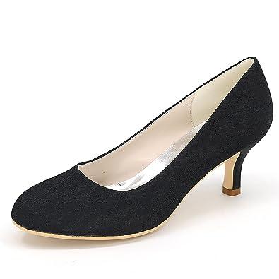Elobaby Frauen Modern Closed Toe Hochzeit Schuhe Low Salsa Heels 35