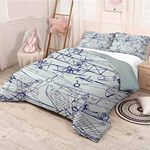 prunushome Airplane Quilt Cover Pillowcase Old Airplane Drawings Classic Dated Flight Vintage Style Nostalgic Jets Softest, Coziest Bed Sheets Ever Violet Blue Turquoise Twin