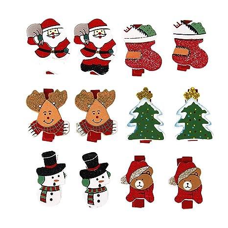 zeuxs Creative Regalos de Navidad tarjetas de fotos de madera Clip – Carcasa para aperitivos para