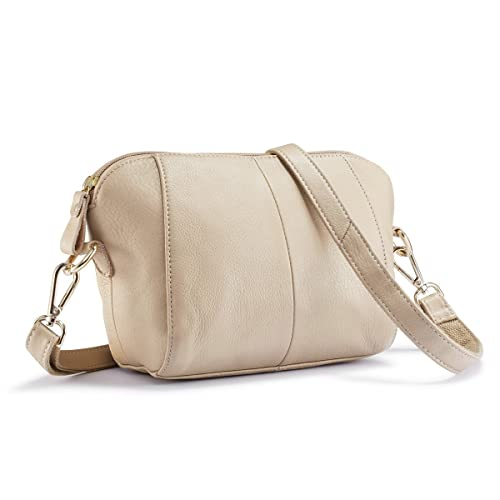 e7672a278e0f Lecxci Small Women s Soft Leather Crossbody Travel Smartphone Bag Wristlets  Clutch Wallet Purse (Beige)  Amazon.co.uk  Shoes   Bags