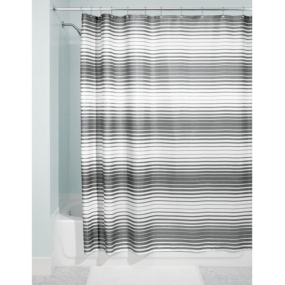 InterDesign Stripe Fabric Shower Curtain, 72 x 72, Blue 72 x 72 36120
