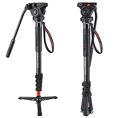 COMAN KX3232 Lightweight Aluminum 73.2 Inch Monopod Kit Flip Lock 5 Section Leg and Q5 Fluid Head with Removable Support Stand Max Load 13.2 LB for SL