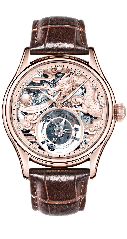BOS Men's Tourbillon Mechanical Luxury Rose Gold Tone Dragon Skeleton Private Customization Watch