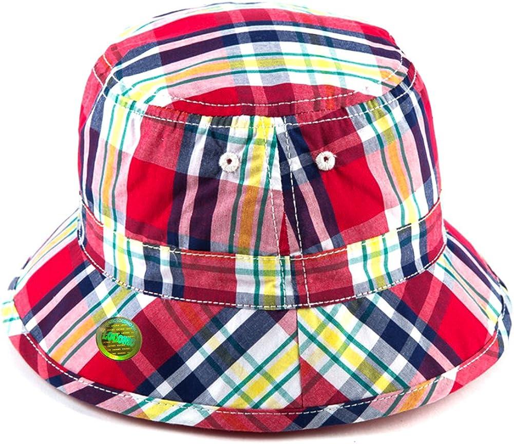 Locomo Kid Cute Colorful Checkered Plaid Tartan Bucket Hat Beach FBH028