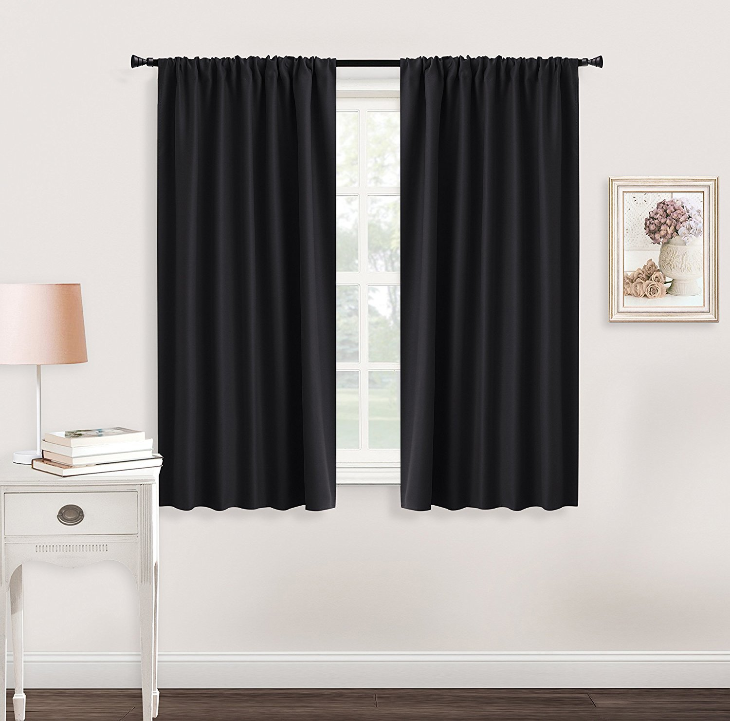 "Black Window Curtains and Drapes - RYB HOME ( 42"" x 45"", Black, Double Pieces"