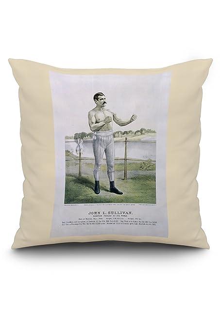 Amazon.com: John L Sullivan Vintage Poster (artist: Cameron) USA c. 1883 (20x20 Spun Polyester Pillow, White Border): Posters & Prints