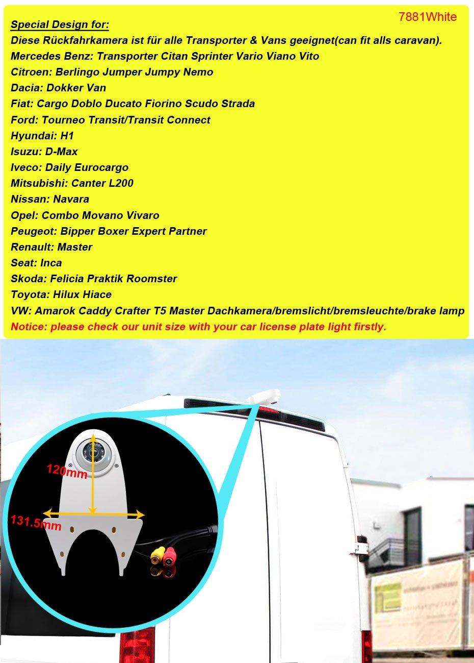 Bremslicht Bremsleuchte passend f/ür R/ückfahrkamera Transporter Mercedes Sprinter Viano Vito Transit Ducato VW Crafter T5 Renault Master Opel Vivaro Dynavsal R/ückfahrsystem mit R/ückfahrkamera im 3