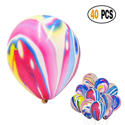 Amazon Com Divine 40 Pcs Lot Rainbow Agate Marble Latex Balloons