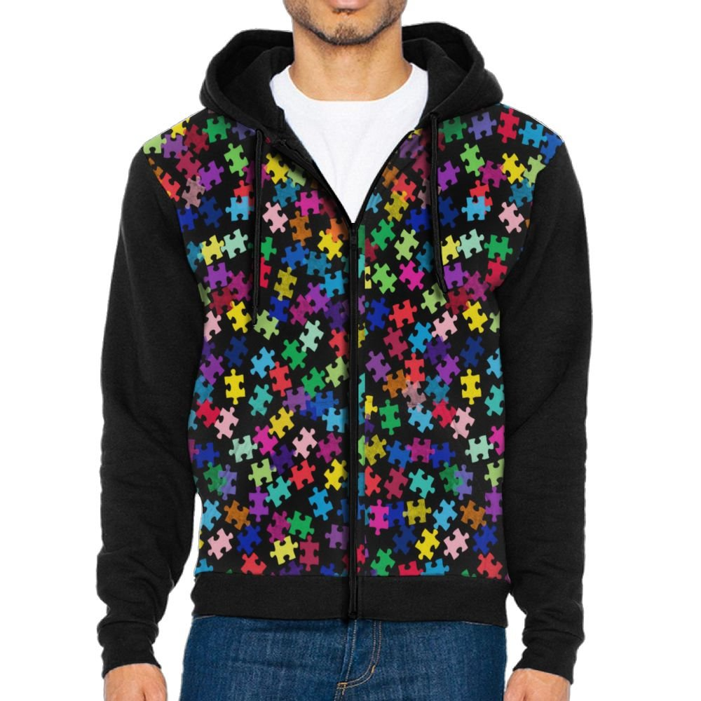 Joapron Autism Awareness Colorful Puzzle Piece Men's Zipper Splicing Overcoat Belt Hat and Pocket S Black by Joapron