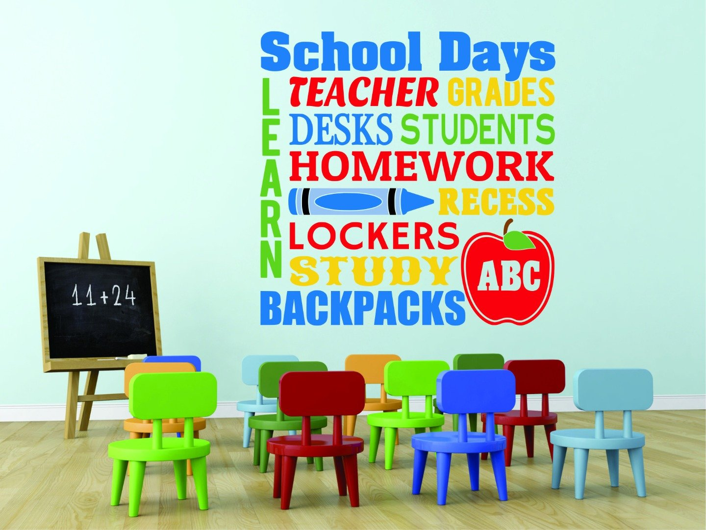 Design with Vinyl RAD 960 2 School Days Learn Teacher Ges Desks Students Homework Recess Lockers Study Backpacks Abc Classroom Preschool Quote Wall Decal As Seen 16 x 16