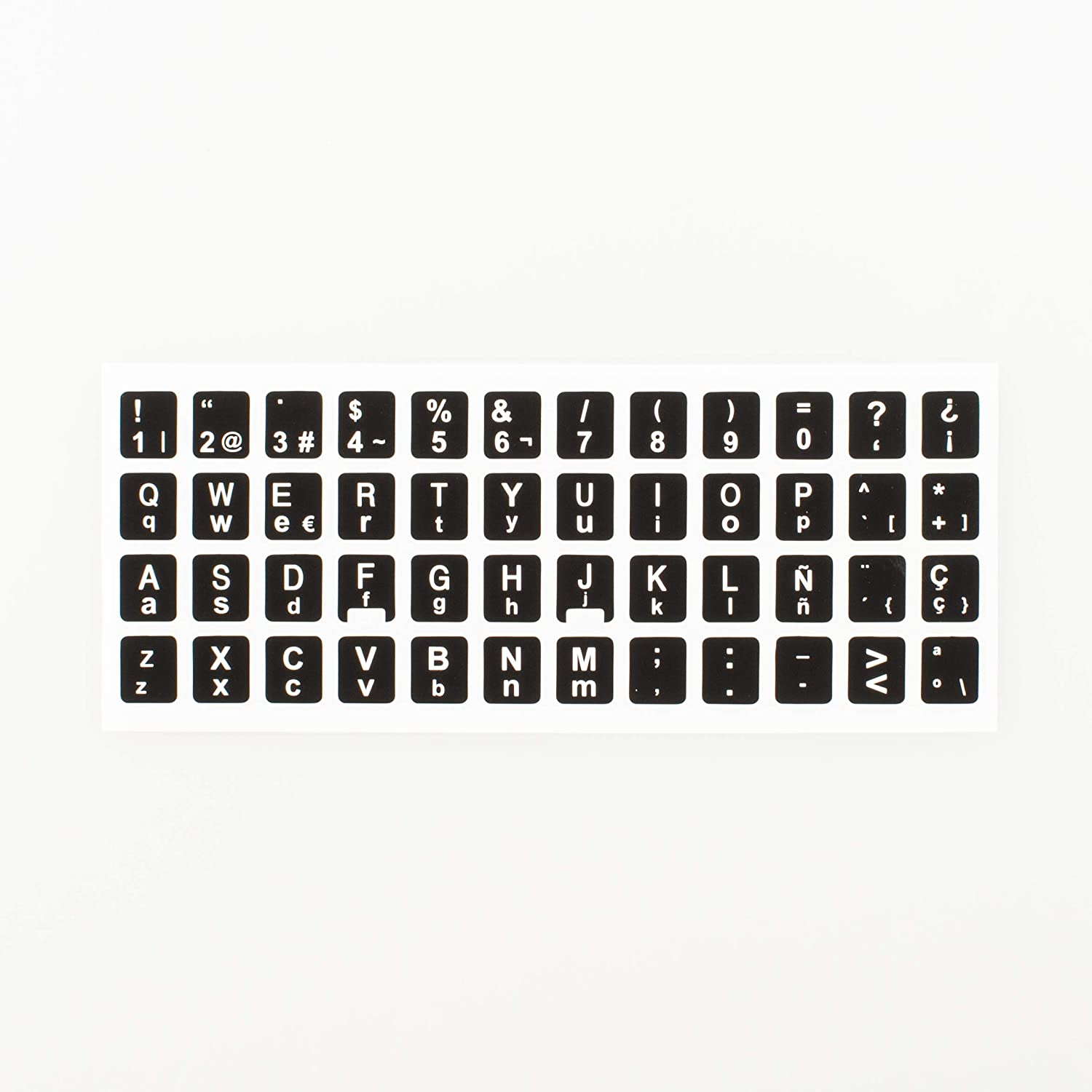 [2 Packs] Replacement English Keyboard Stickers on Non Transparent Black Background for Any PC and Laptop (ESP)