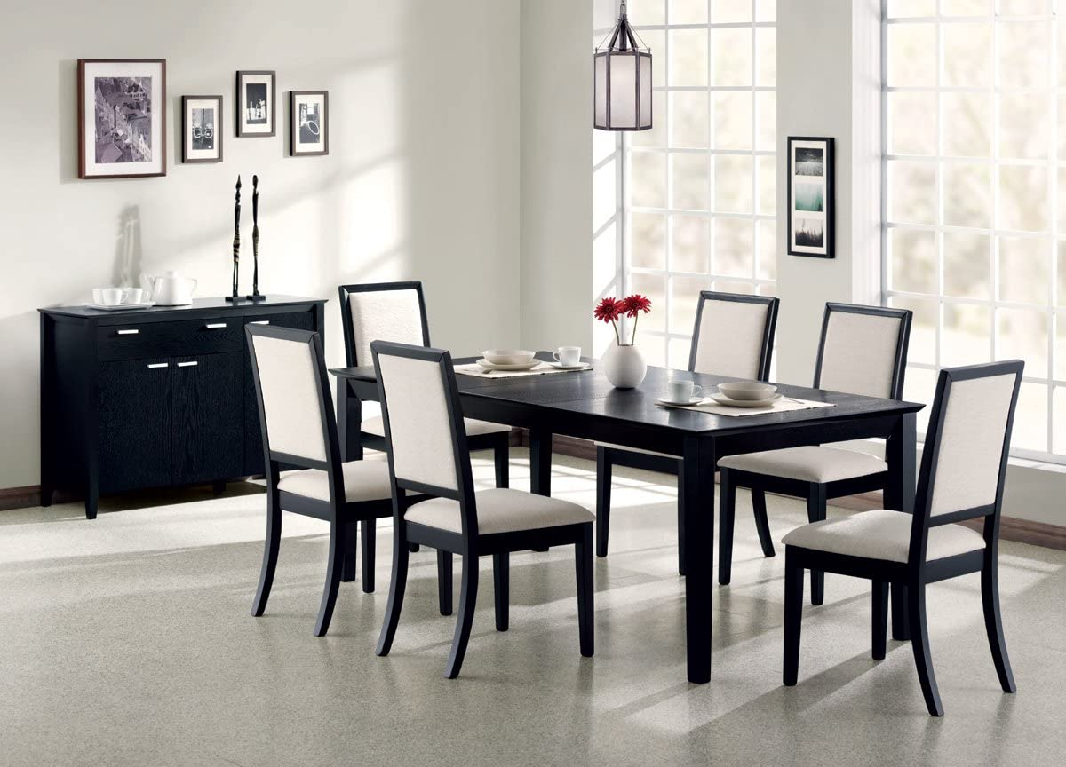 Inland Empire Furniture Fruma Distress BlaCalifornia King Solid Wood & Crème Chemile 7 Piece Standard Height Dining Set