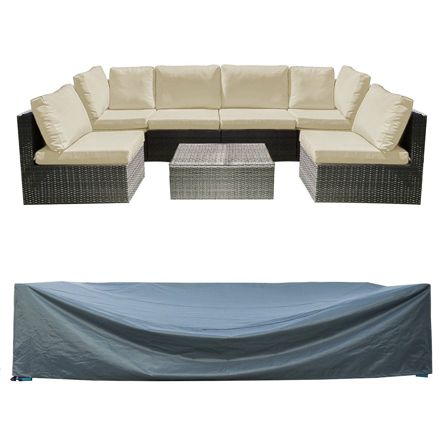 Patio Furniture Set Cover Outdoor Sectional Sofa Set Covers Outdoor Table and Chair Set Covers Water Resistant Heavy Duty 128'' L x 83'' W x 28'' H