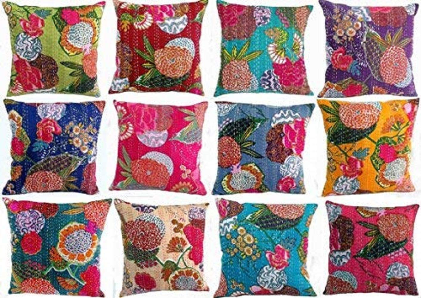 Throw Pillow cover,Kantha Pillow Case,16 x 16,18 x 18,20 x 20,24 x 24,Square pillow cover,Decorative cushion cover,Home gift
