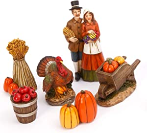 One Holiday Way Six Piece Vintage Box Set of Indian or Pilgrim Fall Harvest Figurines – Tabletop Thanksgiving Decoration (Pilgrim)