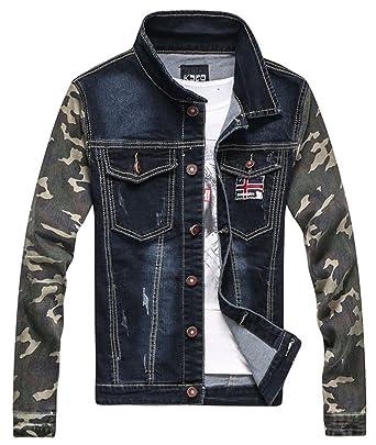 6de436f6a6 LifeHe Men Patchwork Camo Denim Jacket Blue Jeans Coat 2017 at Amazon Men s  Clothing store
