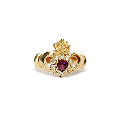 b3b5b828a Image Unavailable. Image not available for. Color: Providence Vintage  Jewelry Amethyst Swarovski Crystal Claddagh Ring ...