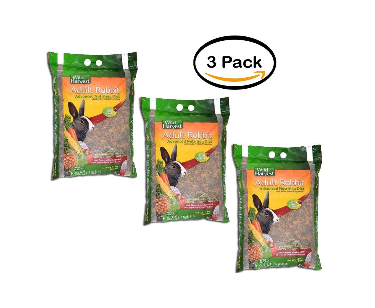 PACK OF 3 - Wild Harvest Rabbit Diet Food 14 lbs