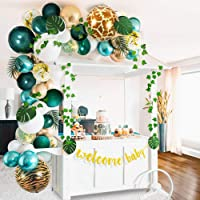 Sweet Baby Co. Jungle Theme Safari Baby Shower Decorations with Green Balloon Garland Arch Backdrop, Tropical Leaves…