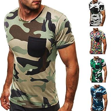 Absolute Herren T-Shirt,Kurzarm Shirt Sommer Casual Camouflage Pocket  Kurzarm T-Shirt Muscle Bluse Top Poloshirt Sweatshirt Rundhals Ausschnitt  Hemden  ... 7bae993967