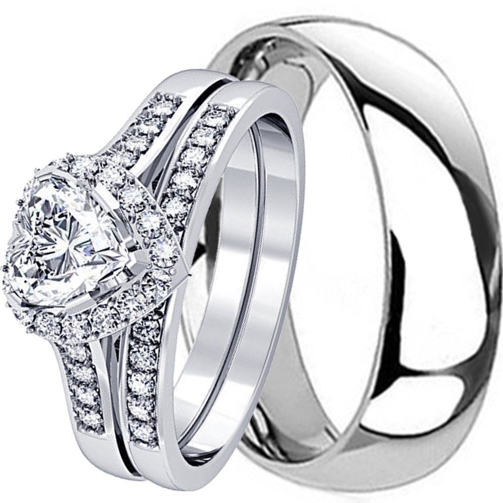 NYCJewelrydesign 3 Pieces Men's and Women's, His & Hers, 925 Genuine Heart Cut Sterling Silver & Solid Traditional Titanium Engagement Matching Couples Wedding Ring Set