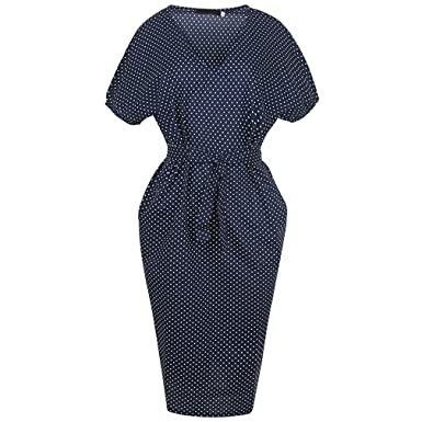 Xaviera Mujeres Vestido ajustado Vintage 1950s Mujeres Lunares Bodycon Vestido Navy at Amazon Womens Clothing store: